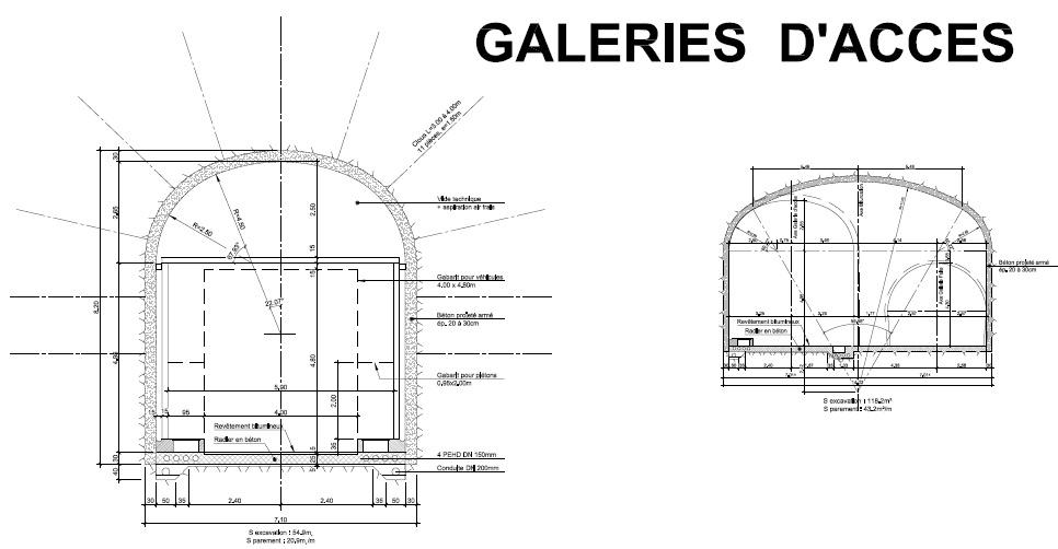 galeries d'accès: plan en coupe